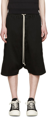 Rick Owens Drkshdw Black Ribbed Pods Shorts $625 thestylecure.com