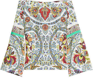 Etro Printed Silk Off-Shoulder Blouse