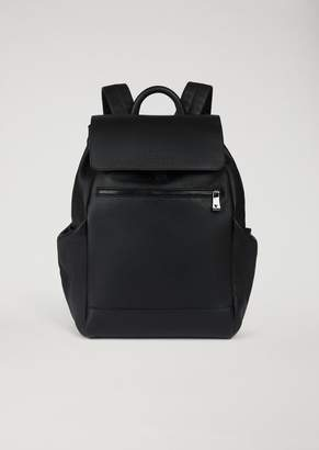 Emporio Armani Backpack In Grained Leather With Side Pockets