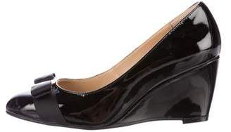 Salvatore Ferragamo Patent Leather Bow Wedges