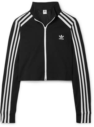 adidas Cropped Striped Jersey Track Jacket - Black