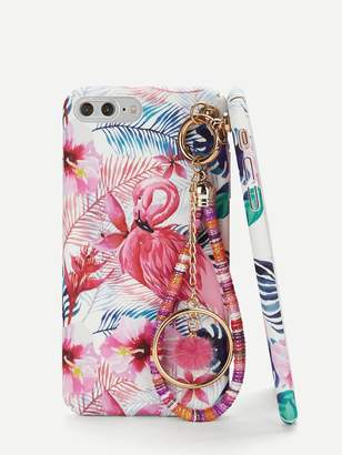 d6afdee8cf Shein Flamingos Print iPhone Case With Charm