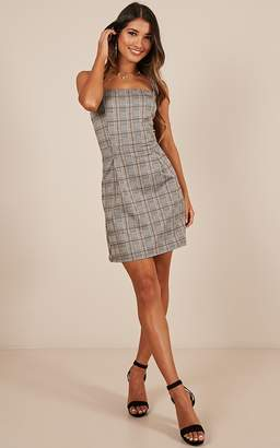 541aff8f944 Showpo Down This Road Dress in grey check - 6 (XS) Casual Dresses