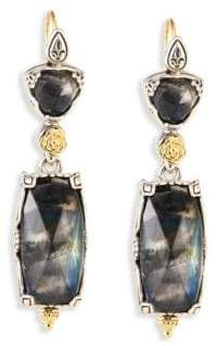 Konstantino Cassiopeia Doublet Spectrolite, 18K Yellow Gold, & Sterling Silver Drop Earrings