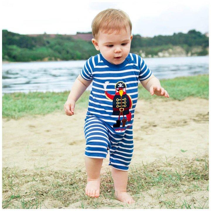 Jo-Jo JoJo Maman Bebe Pirate Romper - Blue White Stripe - 0-3 Months