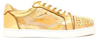 Christian Louboutin Seaveste Spike Embellished Low Top Trainers - Mens - Gold