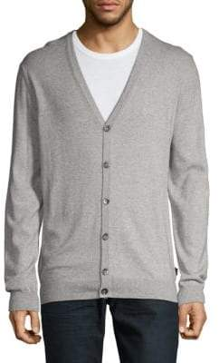HUGO BOSS Cotton & Wool Heathered Cardigan