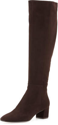 Gianvito Rossi Low-Heel Suede Knee Boot
