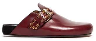 Isabel Marant Mirvin Studded Backless Leather Clogs - Womens - Burgundy
