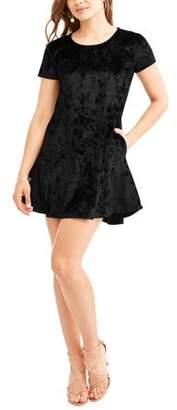 Cool Attitudes Juniors' Short Sleeve Crushed Velvet Dress