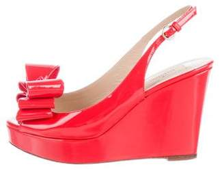 Valentino Patent Leather Slingback Wedges