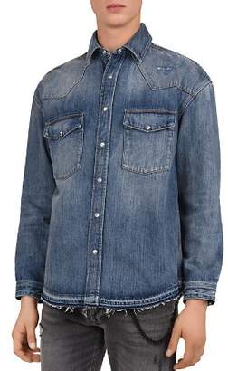 The Kooples Distressed Denim Regular-Fit Shirt