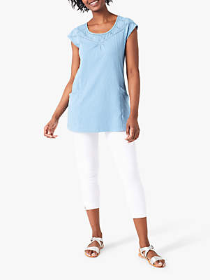 White Stuff Suzie Jersey Cotton Tunic Top, Stone Blue