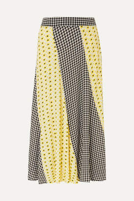 Ganni Printed Crepe De Chine Midi Skirt - Pastel yellow