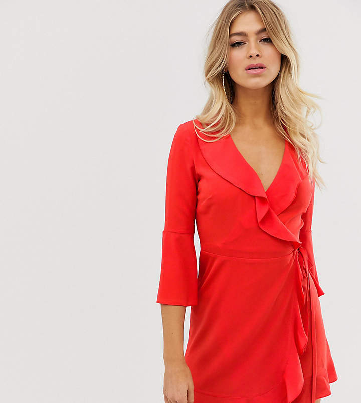 ee8ec933cfb212 Outrageous Fortune ruffle wrap dress with fluted sleeve in red