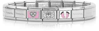 Nomination Classic Mamma Stainless Steel Women's Bracelet w/Pink Symbols and Cubic Zirconia