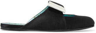 Bow-embellished Satin Slippers - Black