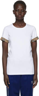 Burberry White Check Cuffs T-Shirt