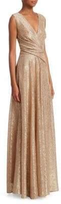Talbot Runhof Metallic Voile Plisse Gown
