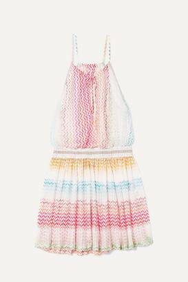 Missoni Mare Striped Crochet-knit Mini Dress - Pink