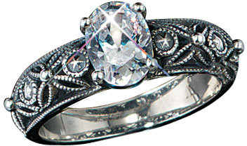 Sterling Silver Vintage Band CZ Ring