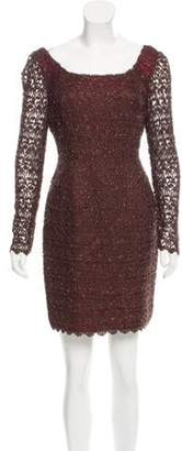 Carmen Marc Valvo Embellished Long Sleeve Dress w/ Tags Brown Embellished Long Sleeve Dress w/ Tags