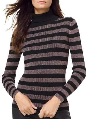 e6a0acab8ceb MICHAEL Michael Kors MICHAEL Metallic Striped Turtleneck Sweater