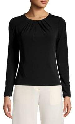 Eliza J Ruched Neck Long Sleeve Top