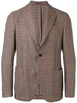 Lardini fitted houndstooth blazer