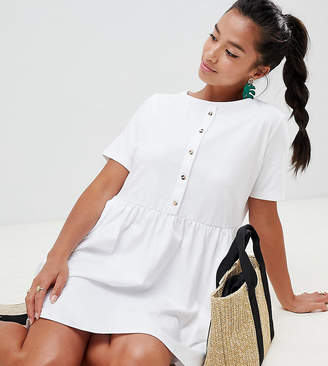 Asos DESIGN Petite mini smock dress with pockets and button front