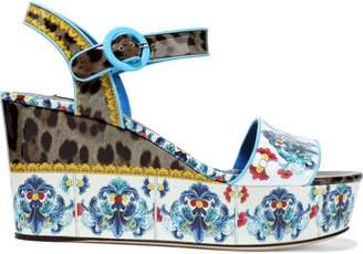 Dolce & Gabbana (ドルチェ & ガッバーナ) - Dolce & Gabbana Bianca プリント パテントレザー ウェッジサンダル