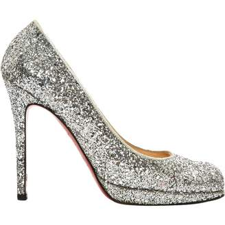 Christian Louboutin Silver Glitter Heels