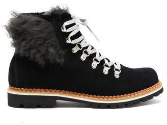 Montelliana Clara Shearling Lined Suede Apres Ski Boots - Womens - Black