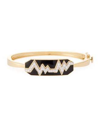 "David Webb Motif"" 18k Gold Diamond Skip Zigzag Bracelet with Black Enamel & Platinum"