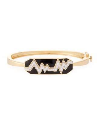 "David Webb Motif"" 18k Gold Diamond Skip Zigzag Bracelet with Black Enamel & Platinum"