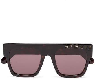 7e600b15bc Stella McCartney Eyewear brown straight bridged square framed logo  sunglasses