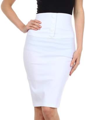 Sakkas IMHighButtonI-9415 Petite High Waist Stretch Pencil Skirt with Four Button Detail - /L