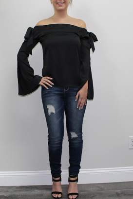 Cotton Candy Black Offshoulder Blouse