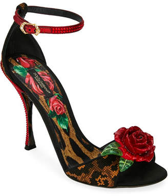 8a4933ee292 Dolce & Gabbana Leopard and Rose Sandals