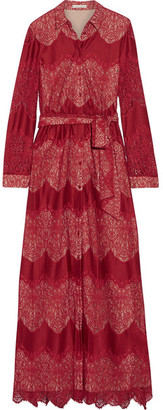 Alice + Olivia Alice Olivia - Sina Paneled Guipure Lace And Voile Maxi Dress - Burgundy $595 thestylecure.com