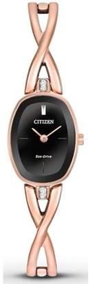 Citizen Eco-Drive Silhouette Rose Gold-Tone Ladies Watch EX1413-55E