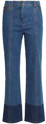 Valentino Two-Tone High-Rise Straight-Leg Jeans