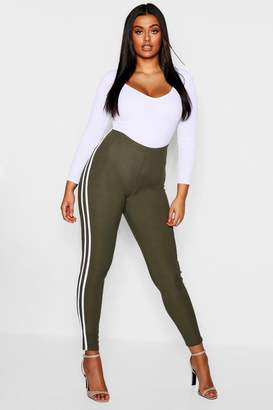 boohoo Plus Stripe Ribbed Leggings