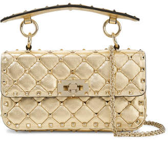 Valentino Garavani The Rockstud Spike Small Quilted Metallic Leather Shoulder Bag - Gold