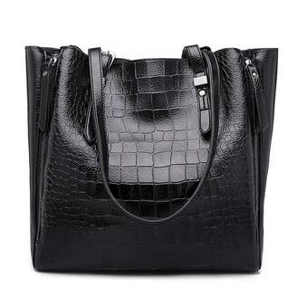 Mn&Sue Women Shoulder Tote Bags Vintage Crocodile Pattern Handbags Top Handle Leather Purse Satchel