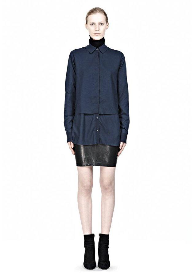 Alexander Wang Heathered Chiffon Long Sleeve Shirt