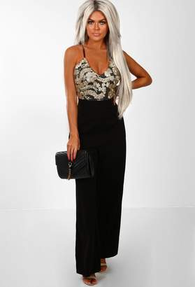 Pink Boutique Dubai Nights Black And Gold Embroidered Wide Leg Jumpsuit