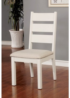Furniture of America Galveston Rustic Ladder Back Dining Chairs, Set of 2