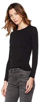 Plumberry Women's Knit Crew Neck Stripe Long Sleeve T Shirt