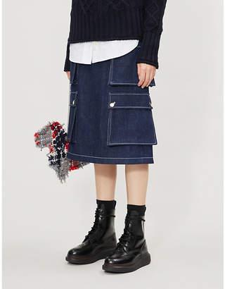 Thom Browne Patch pocket high-waist denim skirt